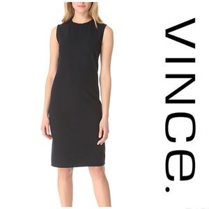 VINCE Rib Knit Ponte Sleeveless Black Midi Dress